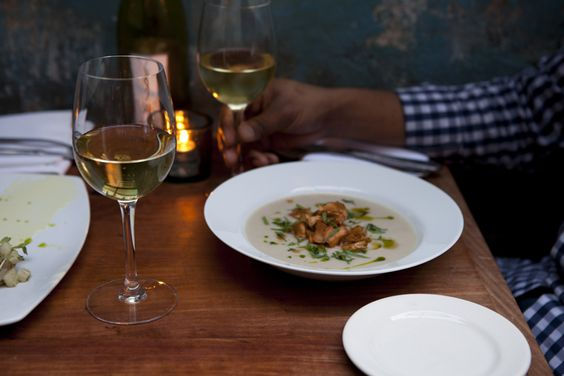 soup and wine with a friend: