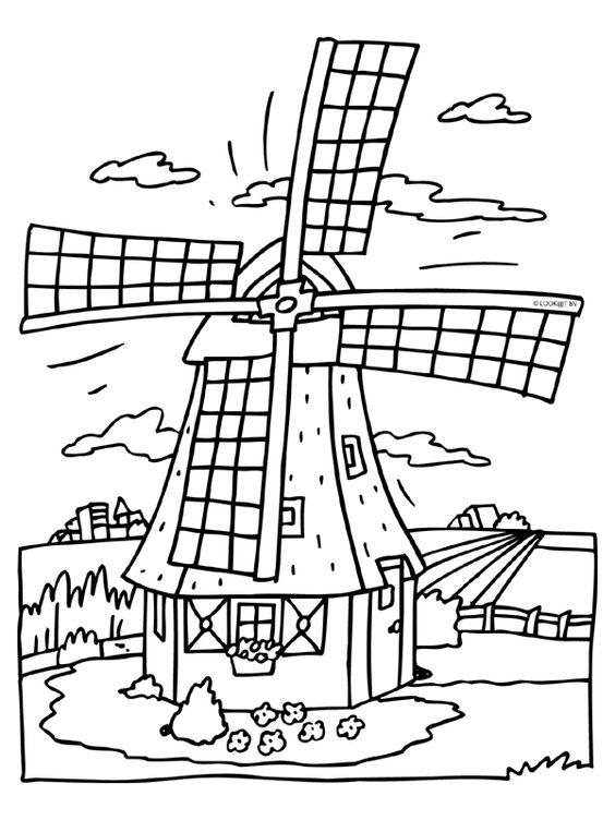 kleurplaat molen nederland
