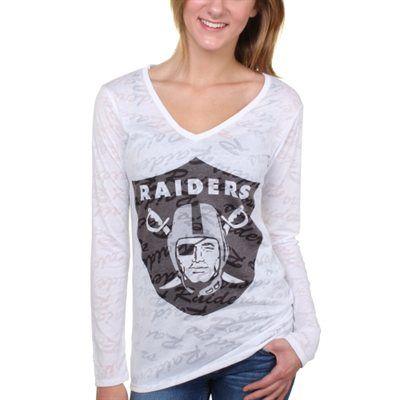 Oakland Raiders Women's White Sublime Burnout V-Neck Long Sleeve T ...