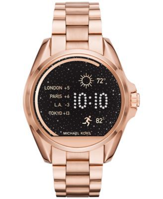 Michael Kors Access Unisex Digital Bradshaw Rose Gold-Tone Stainless Steel Bracelet Smartwatch 45mm MKT5004 | macys.com