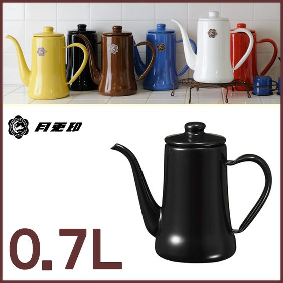 Slim pot 0. 7 L Black ◆-rabbit / get / Noda enamel / kitchen Toy / gadgets / enamel / enamel / Kettle / pot / コーヒーケトル / drip Kettle / coffee...