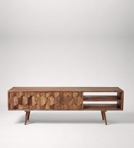 Swoon Editions Media Unit, Mid-Century in sheesham wood with white panel - £219
