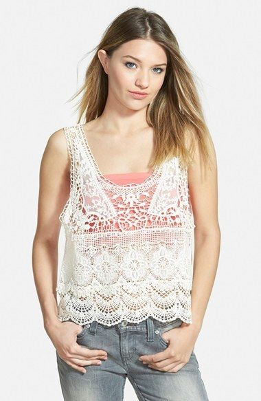 LIVING DOLL Layered Crochet Tank (Juniors)