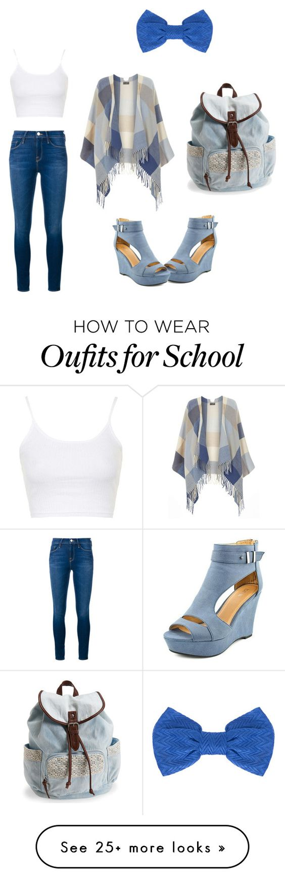 """School Blues"" by jennakiwi on Polyvore featuring Dorothy Perkins, Topshop, Frame Denim, Aéropostale, Missoni, women's clothing, women, female, woman and misses"