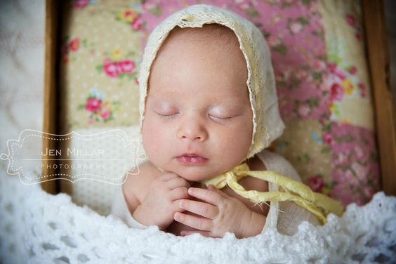 Vintage yellow bonnet - Tiny Bean Baby Quilt Layer - The Sleepy Studio  Jen Millar Photography