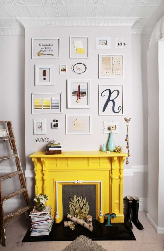.: Fire Place, Fireplaces Art, Painted Fireplaces, Yellow Fireplace, Living Room, Gallery Wall, Art Wall, White Wall