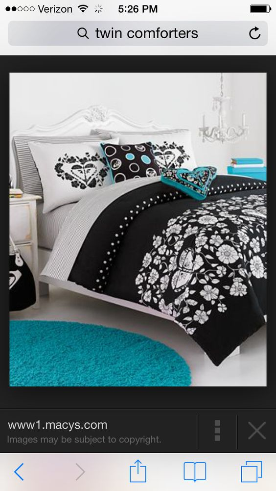Blue black and white bed comforter