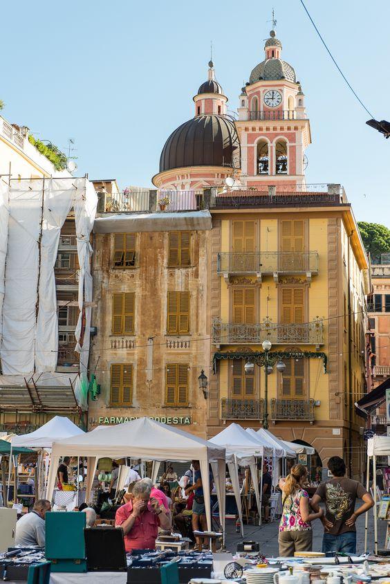Piazza Giuseppi Mazzini at Chiavari, Liguria _ Italy