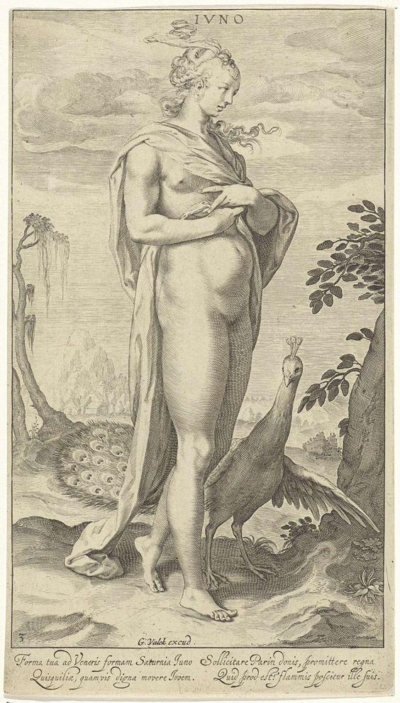 Juno met pauw, Willem Isaacsz. van Swanenburg, 1670 - 1726
