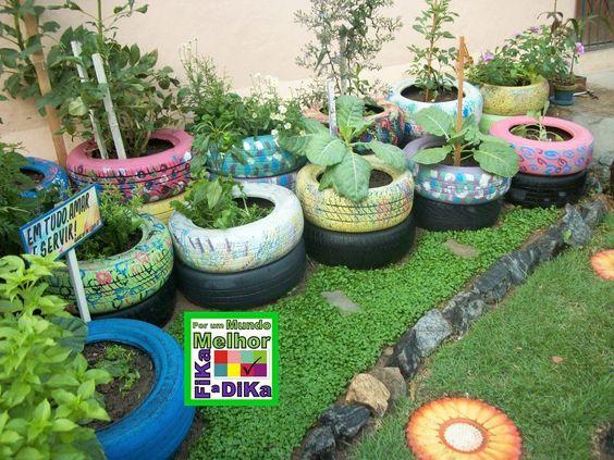 horta em pneus Jardim Pinterest Ems