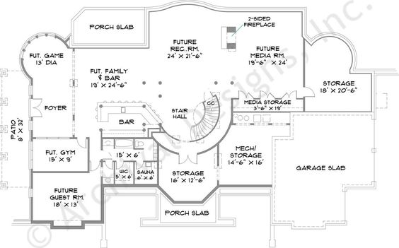 Park place house plan basement floor plan aa House plan with basement parking