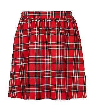 Red Pattern (Red) Inspire Red Tartan Skater Skirt | 299236969 | New Look