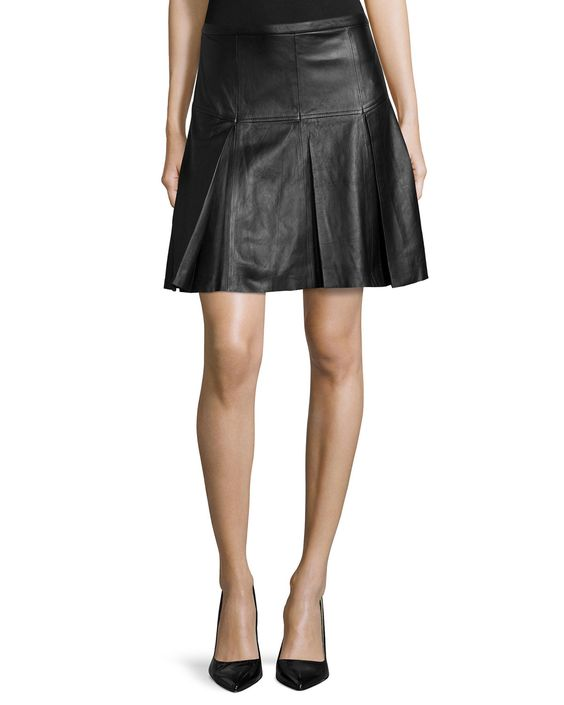 Pleated Leather A-Line Skirt, Black - Halston Heritage | *Neiman ...