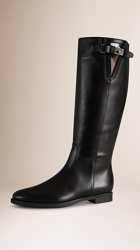 Black House Check Trim Leather Riding Boots - $895