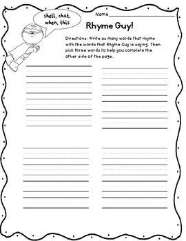 Worksheets Rhyming Sentence words their way first grade sentences rhyming higher order thinking