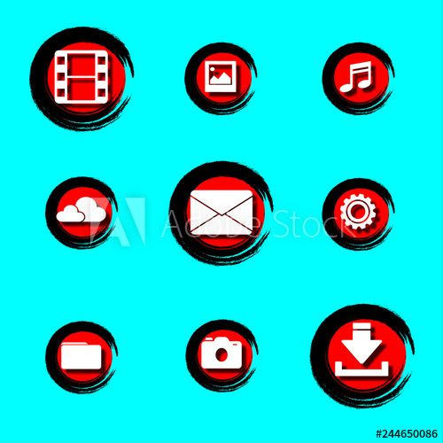 Buttons For Web Red White Black Icon Music Video Photo Settings Cloud Download Files Logo Buy This Stock Vector And Explore Similar Vectors At Adobe Sto