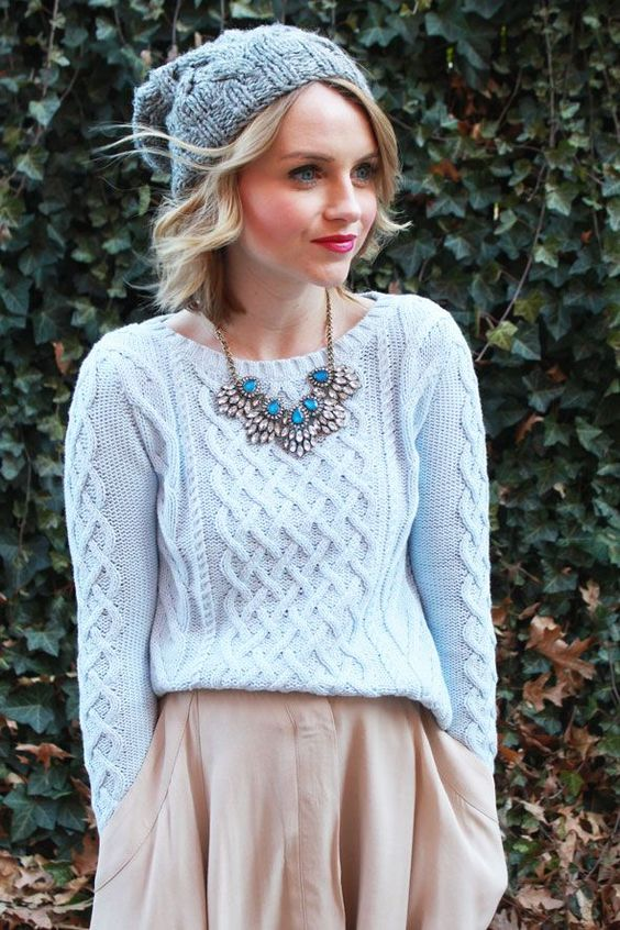 Love the necklace! Thick knitted jumper combo is also winning