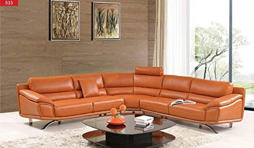 New 533 Italian Leather Sectional Sofa Orange Online Shopping In