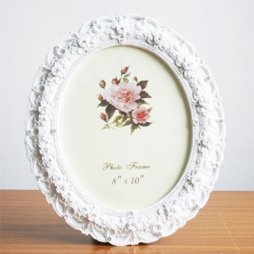Retro-Style-White-Rose-Flower-Oval-Home-Photo-Frame-Picture-Resin-8-X-10