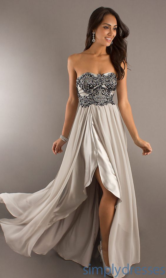Strapless Silver Long Formal Dress - Simply Dresses  Chic ...