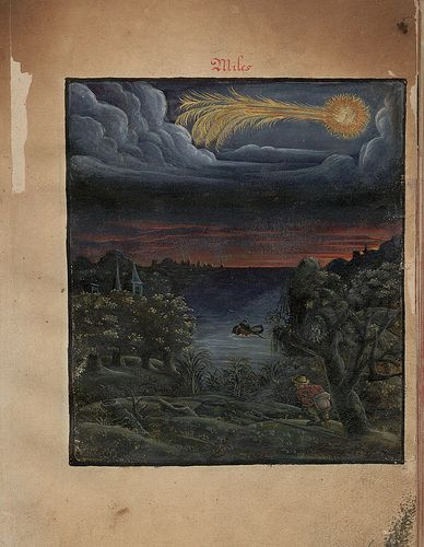 miles a, from  The Comet Book ('Kometenbuch'), a 16th century album of stylised watercolour sketches of both comets and meteors.  via the one-of-a-kind peacay :)