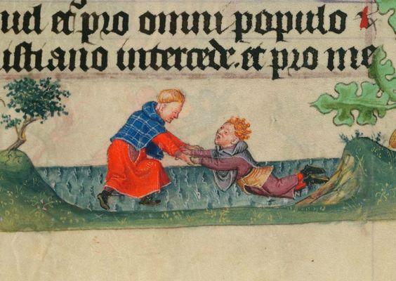 """""""Lezioni di nuoto"""", miniatura tratta dal 'Libro d'Ore di Catherine de Clève' (1440 circa), Morgan Library & Museum, New York."""