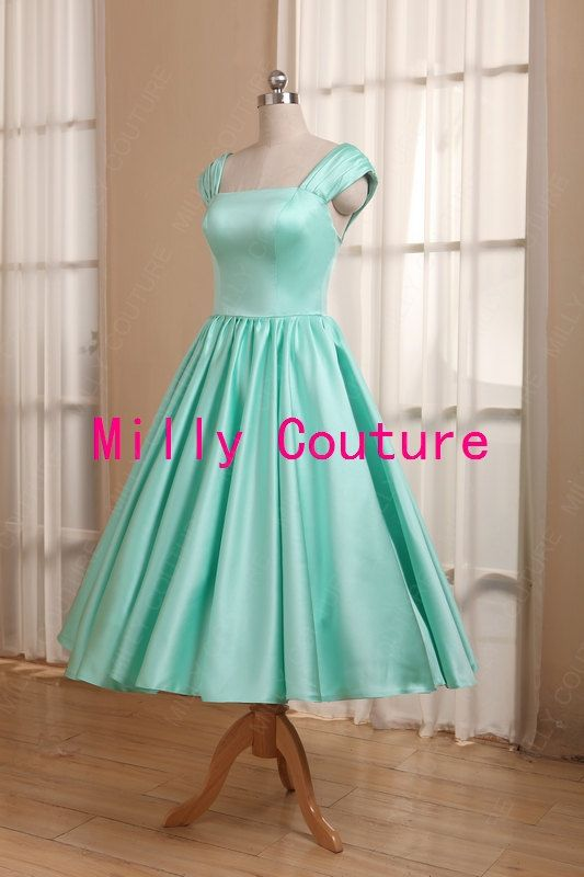 Mint green 1950s bridesmaid dress cap sleeved tea by MillyCouture