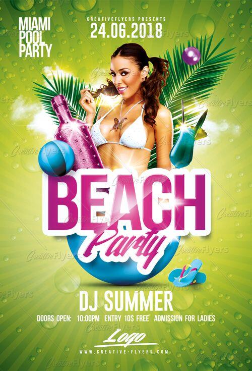 Beach Party Flyer Templates Psd Party Flyer Beach Party Flyer