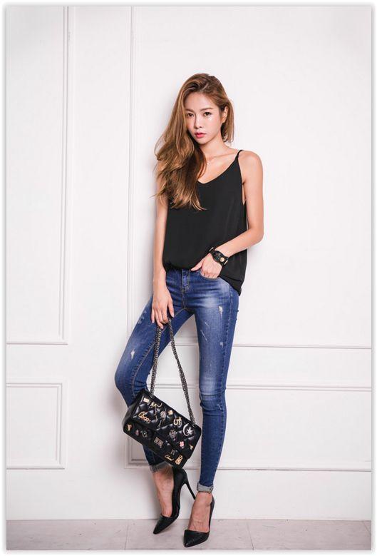 All Korean Fashion items up to 70% OFF! ERANZI - Spaghetti-Strap #Chiffon Top #koreanfashion: