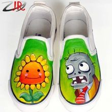 ZFF Plants vs Zombies Children Hand Painted Shoes Low Top Game Figure Plant vs Zombie Kids Graffiti Canvas Sneakers for Boy Girl(China (Mainland))