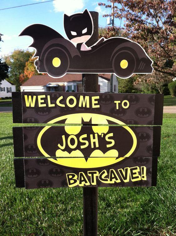 Superhero Batman Batcave Birthday Yard Sign by TickleMeParty
