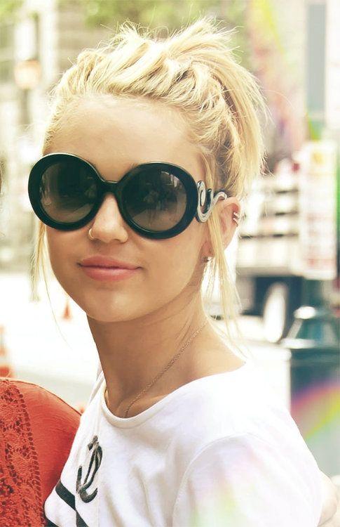 PRADA Swirled Temple Large Frame Sunglasses (Miley Cyrus)