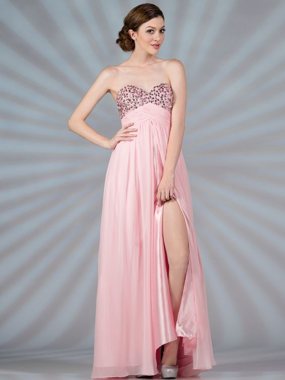 Baby Pink Chiffon Evening Dress. Style #: JC9003. Get yours today at www.SungBoutiqueLA.com
