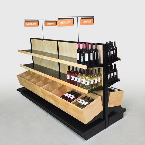 Wooden Wine Display Shelving Liquor Store Fixtures