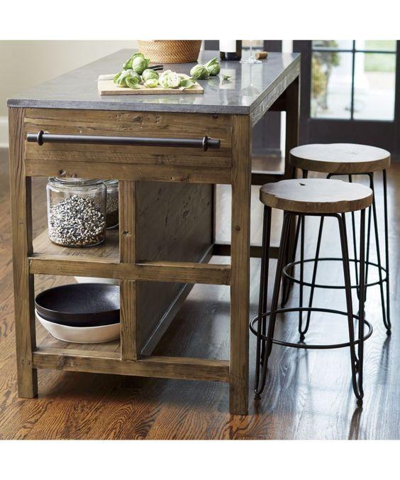 Kitchen Island Bar Table: Bluestone Reclaimed Wood Large Kitchen Island