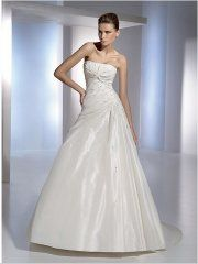 A-line taffeta beaded asymmetrical pleated wedding gown http://www.thebestgown.com
