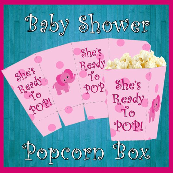 Baby Shower Popcorn Box, Printable Party, It's A Girl