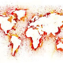 Create a stencil and then splash paint onto the canvasuld use dco murales abstract world map gumiabroncs Gallery