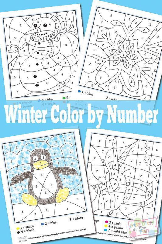 Winter Color By Numbers Worksheets Seasons, Color by