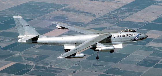 B-47E-25-DT Stratojet 52-166 flies over California's Central Valley farmland as it heads to Castle Air Force Base on the very last B-47 flight, 17 June 1986. (U.S. Air Force)