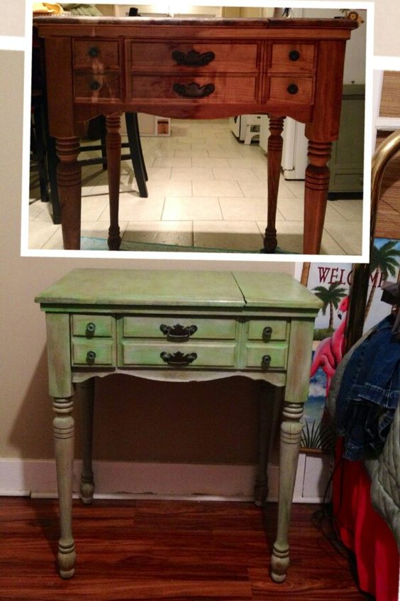 Chalk paint sewing table
