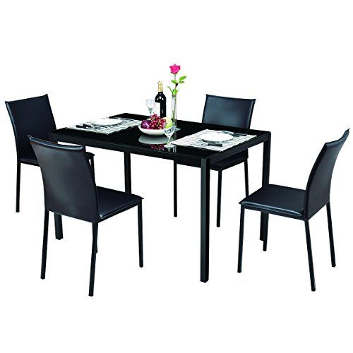 Tangkula Dining Table Set 5 Piece Home Kitchen Glass Top Table With 4 Chairs Breaksfast Furniture Dining Table Setting Dinning Table Glass Top Table