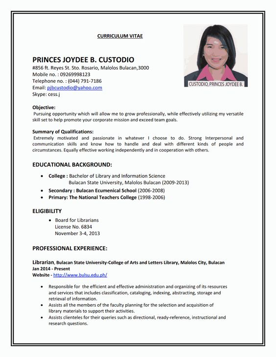 RESUME SAMPLE #5 FONTS Pinterest Fonts - sample librarian resume