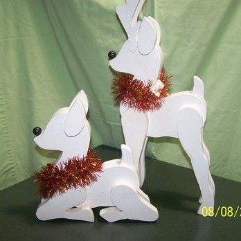 Decorative christmas reindeer display the doe is 11 quot high and rudolph