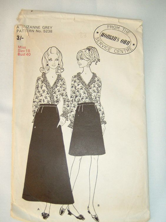Vintage 60s Woman's Own Pattern 5238 skirt & blouse pattern size bust 40"