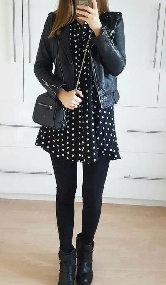 outfits negro vestido corto lunares
