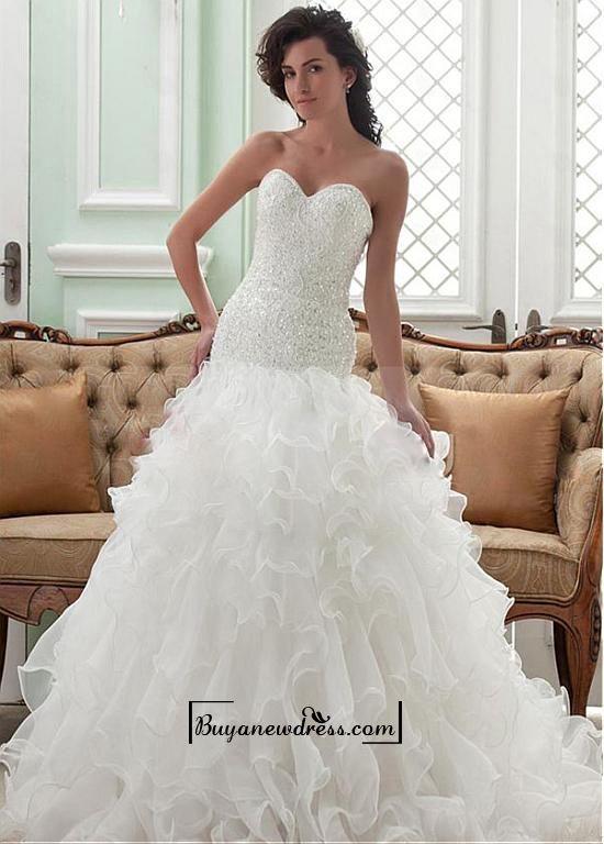 Alluring Satin&Organza&lace A-line Sweetheart Neckline Dropped Waistline Wedding Dress