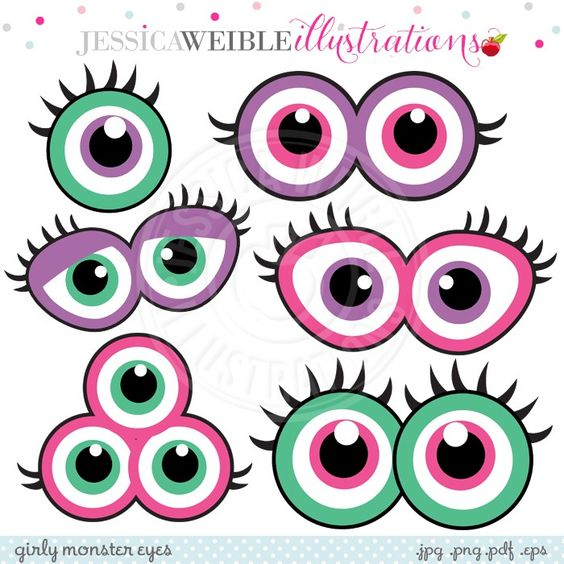 Girly Monster Eyes Digital Clipart - JW Illustrations