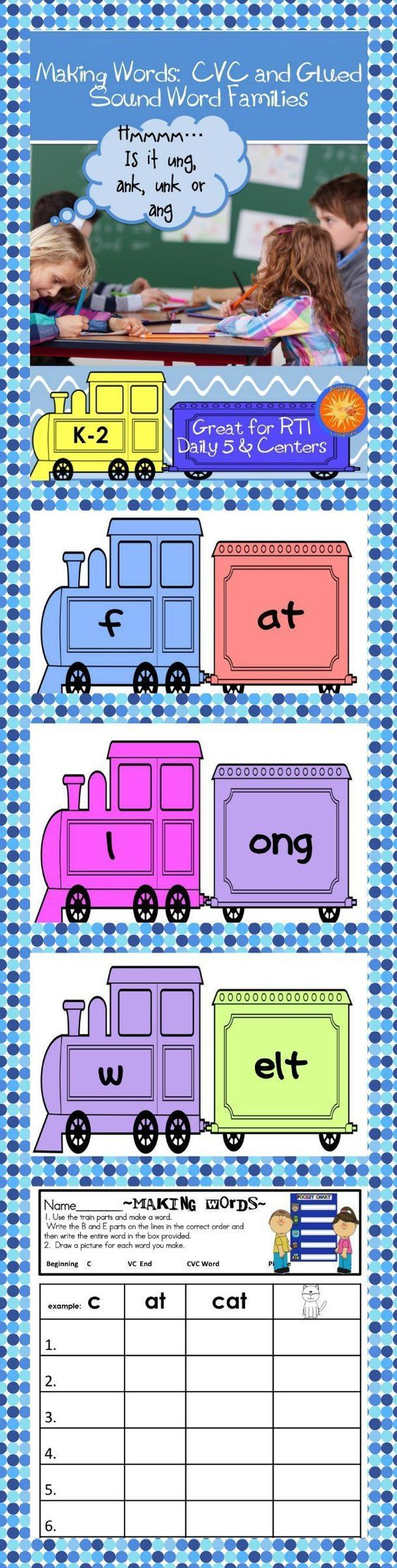 Word families, Words and Beginning sounds on Pinterest free worksheets, worksheets for teachers, math worksheets, grade worksheets, and multiplication Cvc Phonics Worksheets 2 2222 x 564