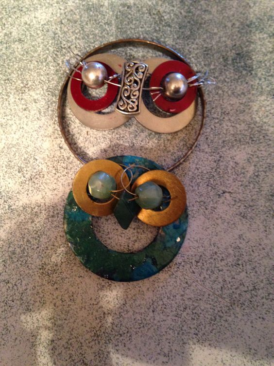 DIY owls from washers, beads and wire